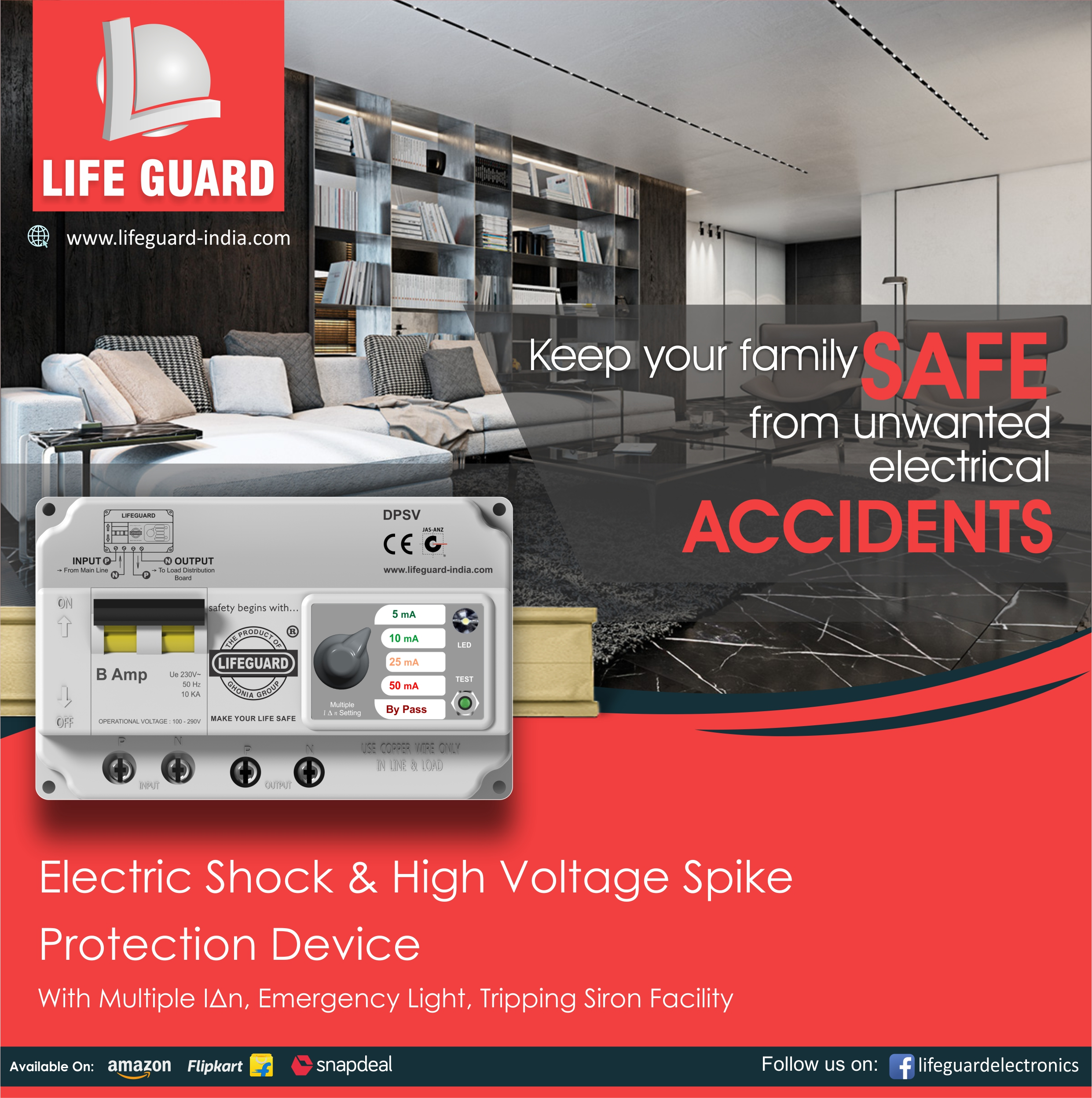 Lifeguard Electronics India Pvt Ltd Voltage Protector Circuit Type Rccb Mcb Functions Protection Against Electric Shock High Short Respect To Ampere Rating Over Load Two Phasing