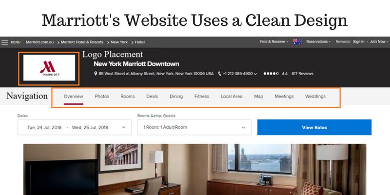 hotel website navigation