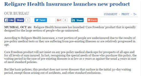 Religare Health Insurance Launches New Product