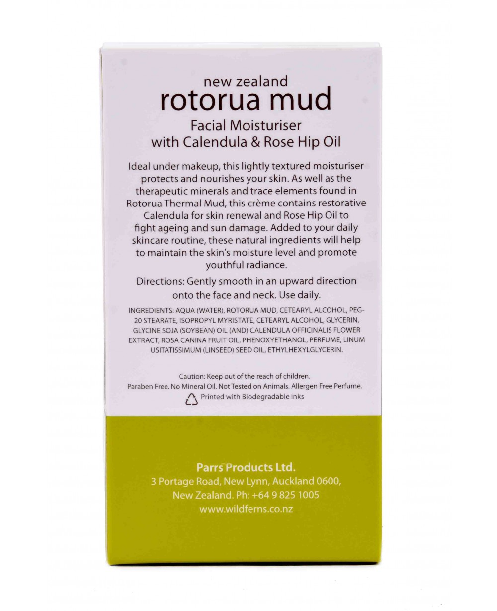 WILD FERNS ROTORUA MUD MOISTURISER WITH CALENDULA & ROSE HIP OIL