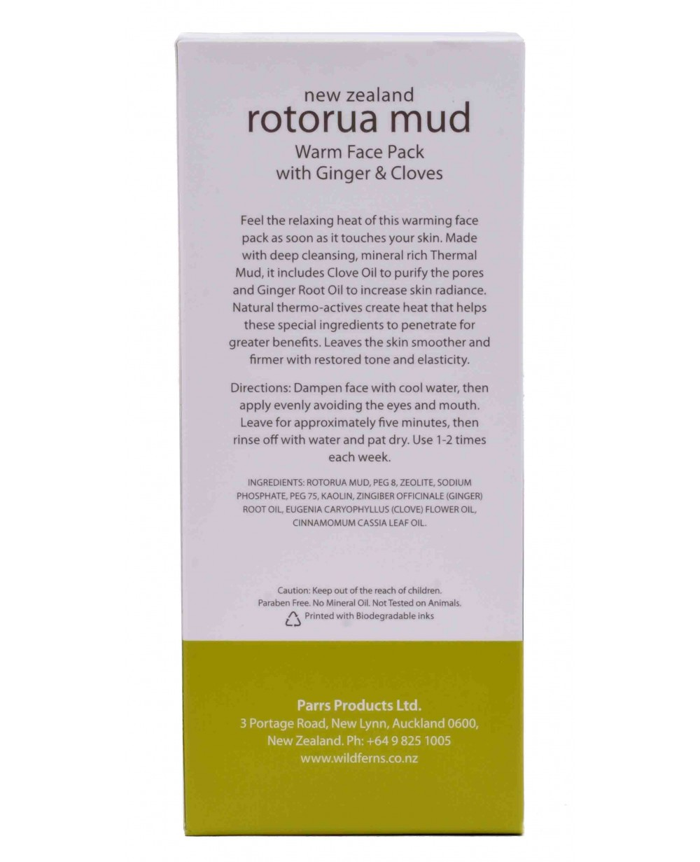 WILD FERNS ROTORUA MUD WARM FACE PACK GINGER & CLOVES 90 ML