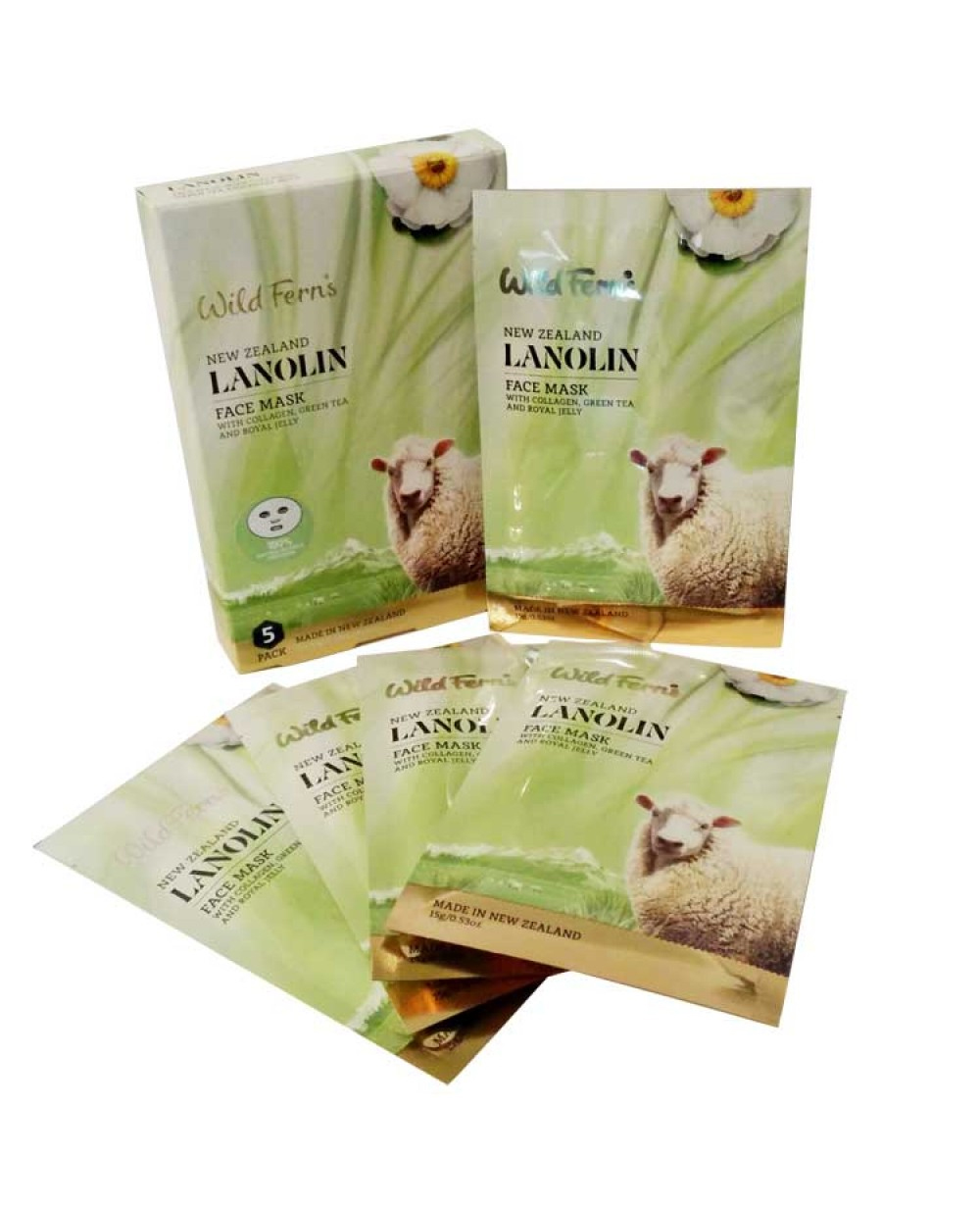 WILD FERNS LANOLIN BAMBOO FACE MASK WITH COLLAGEN 5 PACK