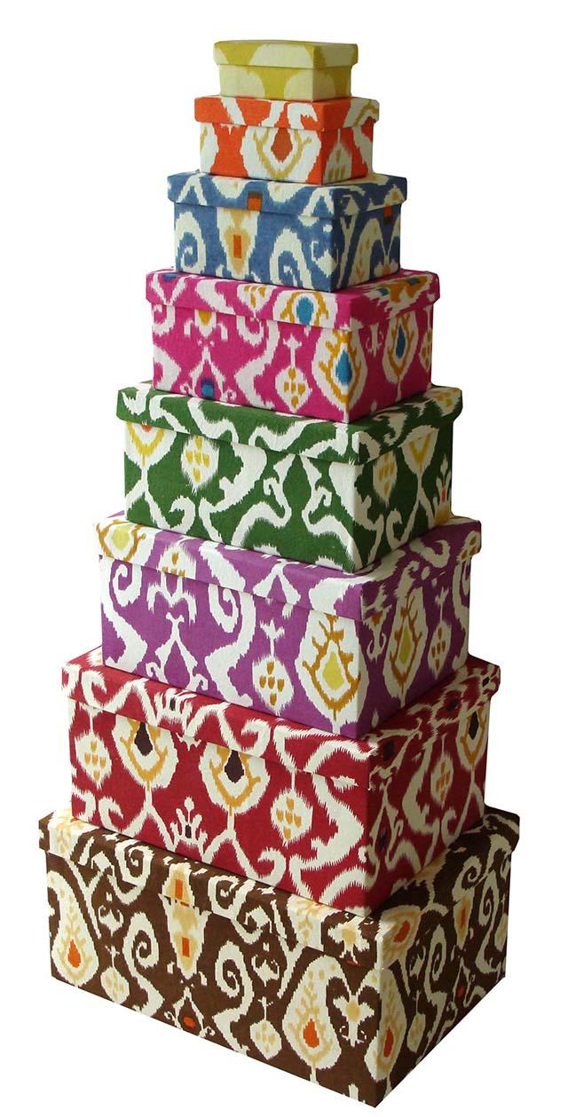 Ikat Printed Fabric Box
