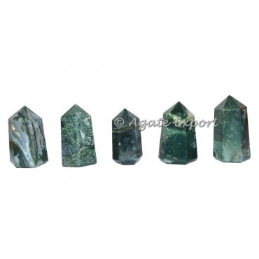 Buy now moss agate wider natural point , semi precious stone generator.